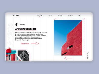 Architect Website Concept popular flat typography exterior design conceptual building uidesign simple homepage pink architectural landingpage landing light minimalism website ux ui webdesign architecture