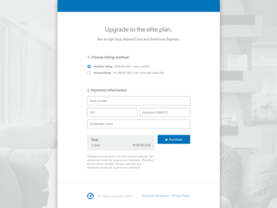 Upgrade account form