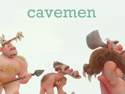 cavemen animation advertising baydakov aleksey cartoon concept illustration character design