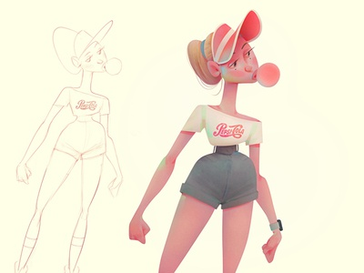 girl_01 baydakov illustration animation advertising cartoon concept baydaku character design