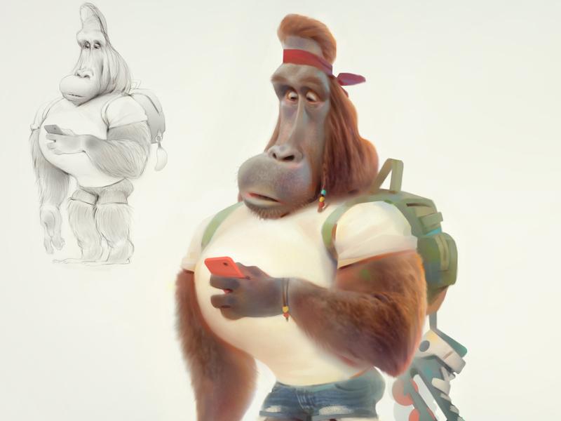 monkey baydaku animals animation advertising concept cartoon illustration character design