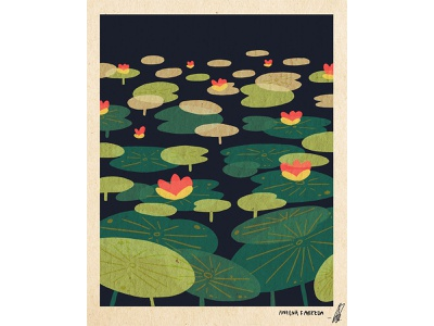 Life as a Lotus flat postcard poster texture flower lotus flower lotus asian digital art print design illustration art print design illustration