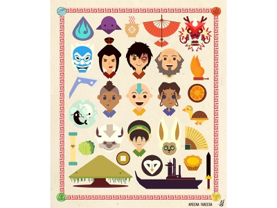 Avatar the Last Airbender Fandom Poster vector designer poster cartoon avatar fandom colorful digital art print design print illustration art illustration design