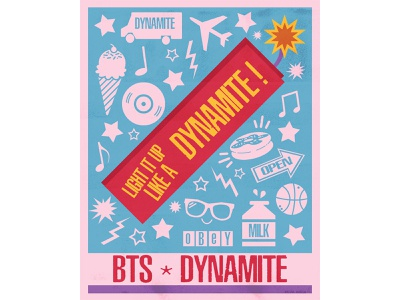 Light it Up, like a Dynamite! bts fanart bts dynamite letterpress colorful poster printmaking graphic design digital art print design illustration art print illustration design