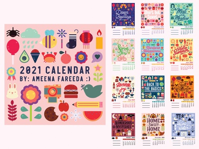 2021 Calendar graphic design design iconography icons illustration happy new year new year grid layout grid colorful calendar