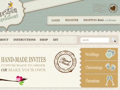 Crafty Web Design - V2 craft texture website handmade weddings