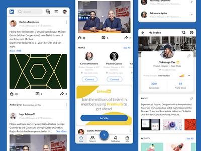 Linkedin  Redesign mobile ui listing profile job linkedin product design character app icon ux ui