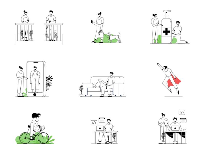 Cord Illustrations new normal sanitizer animal dog pet doctor social distancing covid-19 virus developer coding web branding vector app character design graphic ui illustration