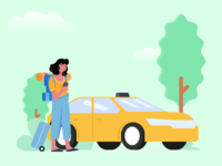 Book a Cab taxi holiday card online backpack holiday traveler travel booking app cab booking booking cab illustration