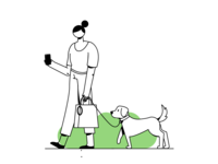 Morning Walk walking vector illustration character shopping mobile walk pet care pet dog