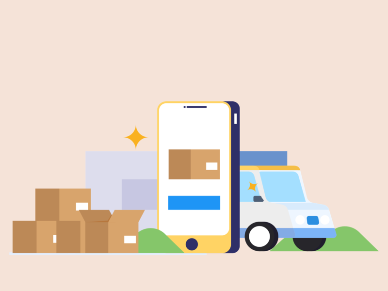 Online Delivery vector graphic ui illustration