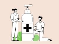 Stay Safe clean corona staysafe couple sanitizer virus pandemic ui branding vector character illustration