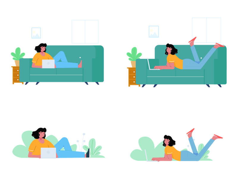 Work From Home work outdoor indoor wfh working couch laptop character girl woman design vector ui illustration