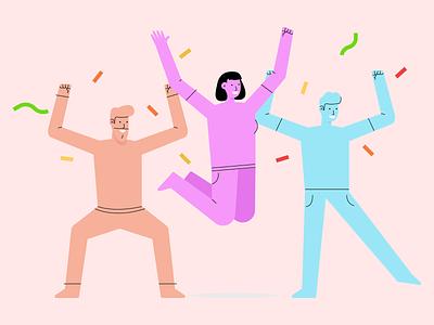 Celebrations vector happy excited party enjoy friends celebration celebrate ui design character illustration