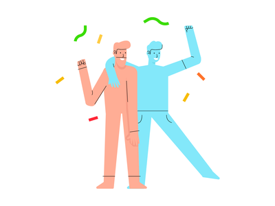 Friends Celebrate celebration party enjoy friends friendship branding character vector ui illustration