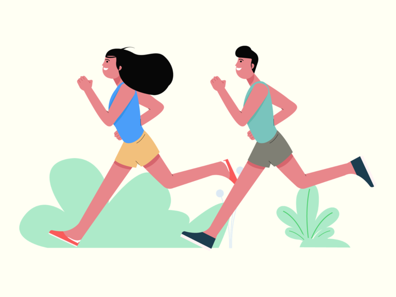 Fitness couple running fitness design character vector graphic ui illustration