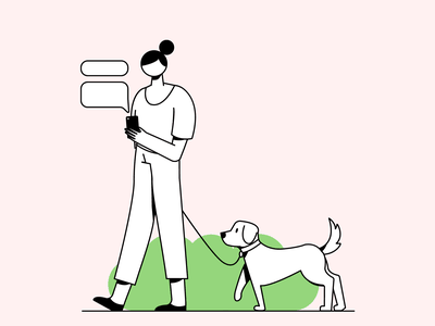 Walk & Talk outdoor chat dog website app mobile design character vector graphic ui illustration