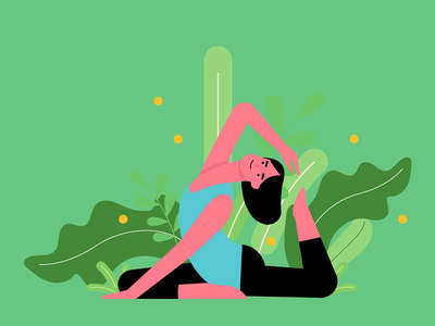 Yoga woman yoga excercise health website mobile design character vector ui graphic illustration fitness