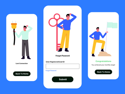 Mobile App | Illustrations achivement signup login forgot password empty state emptystate app mobile design character vector graphic ui illustration
