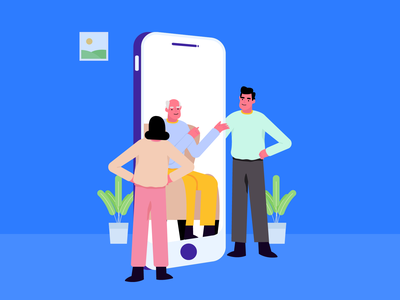 Video Call parent old elder new normal stay home staysafe discussion call video mobile app website character vector graphic ui illustration
