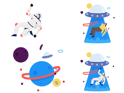 404 spaceship spaceman astronaut page not found 404 website app mobile design character vector graphic ui illustration