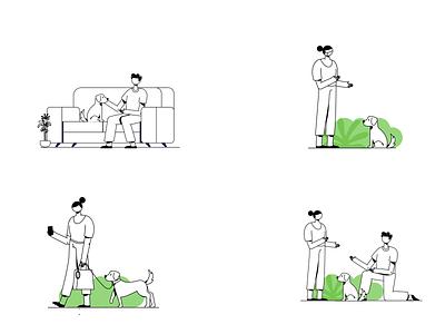 Pet Care woman man dog pet care friends website mobile design character vector graphic ui illustration