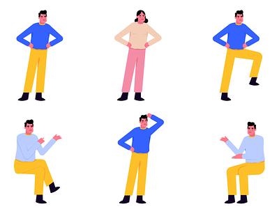 Position | Jeet Illustrations postions pack set freebie app mobile website design character vector graphic ui illustration
