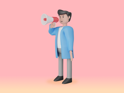 3D Illustration | Coming Soon speaker megaphone aunnocement marketing mobile character ui illustration 3d art 3d
