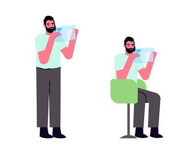 AR/VR website mobile design vector graphic ui illustraion technology cahir cahir character vr virtual reality augmentedreality