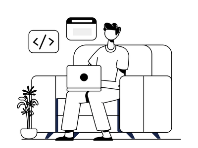 Work From Home couch developer coding office work home wfh website icon mobile design vector character graphic ui illustration