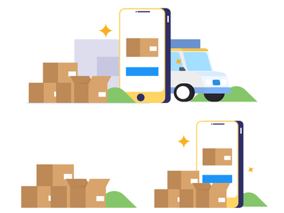 Delivery package shopping online product delivery app delivery truck website icon mobile design vector graphic illustration