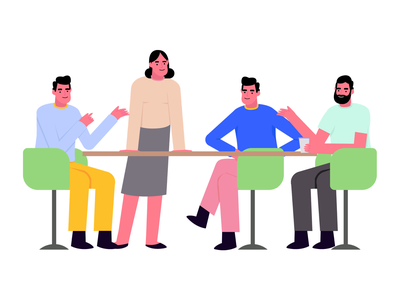 Teamwork discussion meeting friends product design office teamwork team website mobile character vector graphic ui illustration