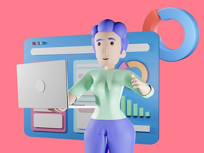 3D Illustrations product design mobile presenation work browser stats laptop lady woman 3d art 3d illustration