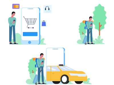 Mobile Browsing graphic vector shopping cab travel app mobile character illustration