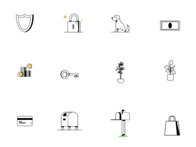 Cord Objects plant key lock mail login payment card finance money dog pet app icon mobile design vector graphic ui illustration