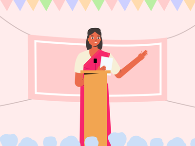 Public Speaking leader speech politics freebie woman design character vector graphic ui illustration