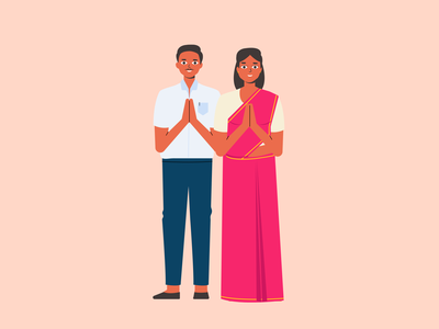 Greeting indian husband wife couple greeting greet welcome character vector ui graphic illustration