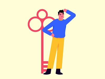 Lost Key forgot foget password key figma design character vector ui graphic illustration