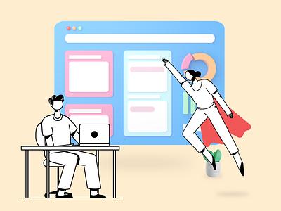 Work Together data office broswer coding teamwork working work blender 3d design vector character graphic ui illustration