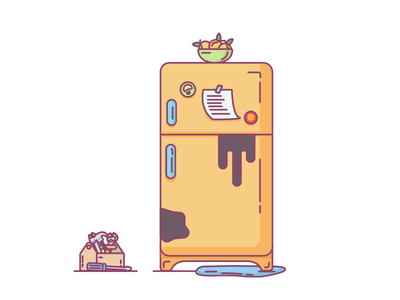 Refrigerator Repair illustration fridge tools tool box repair refrigerator