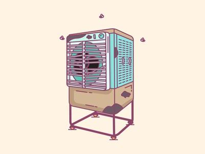 Cooler Cleaning lines graphic clean dirty repair illustration indian cooler