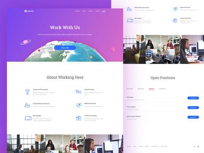 Career Page sketch globe flat design ui website perks career job