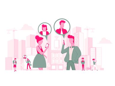 Digital Learning scraper graphic ui tutor reading people learning mobile city illustration