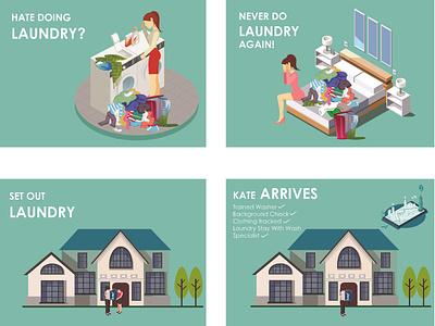 Laundry Mobile App UI UX Storyboard Illustrations women stylish art flat vector modern storyboard artist storyboarding storybook storyboard icon typography ux design branding ui coronavirus artwork illustration animation