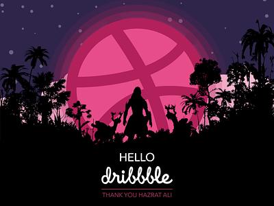 Hello Dribbble photoshop sketch