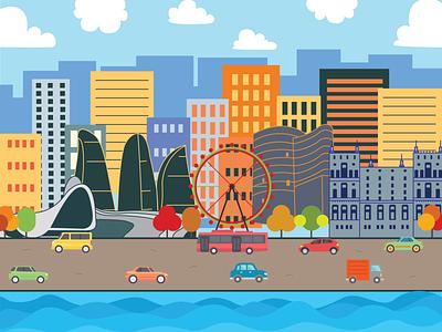 Baku Landmarks flat vector design illustrator azerbaijan clean baku illustration city landmarks landmark