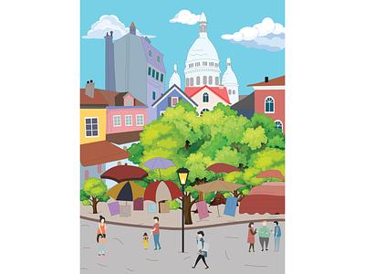 Montmartre Illustration color france citylook art citylover illustrator illlustration city paris montmarte