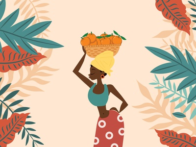 Woman Illustration fruit clean background art design illustrator tropical african woman african africa packaging girl woman tropic orange illustration color colorful colors