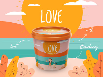 Ice Cream Packaging Design art color design clean illustrator colorful summer poster concept brand identity brand love ice cream illustration colors packagedesign packaging