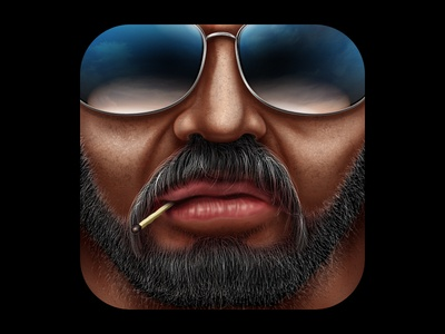 I'm Cool, and You? ios icon realistic sunglasses mustache beard match face man badass tough guy roughneck